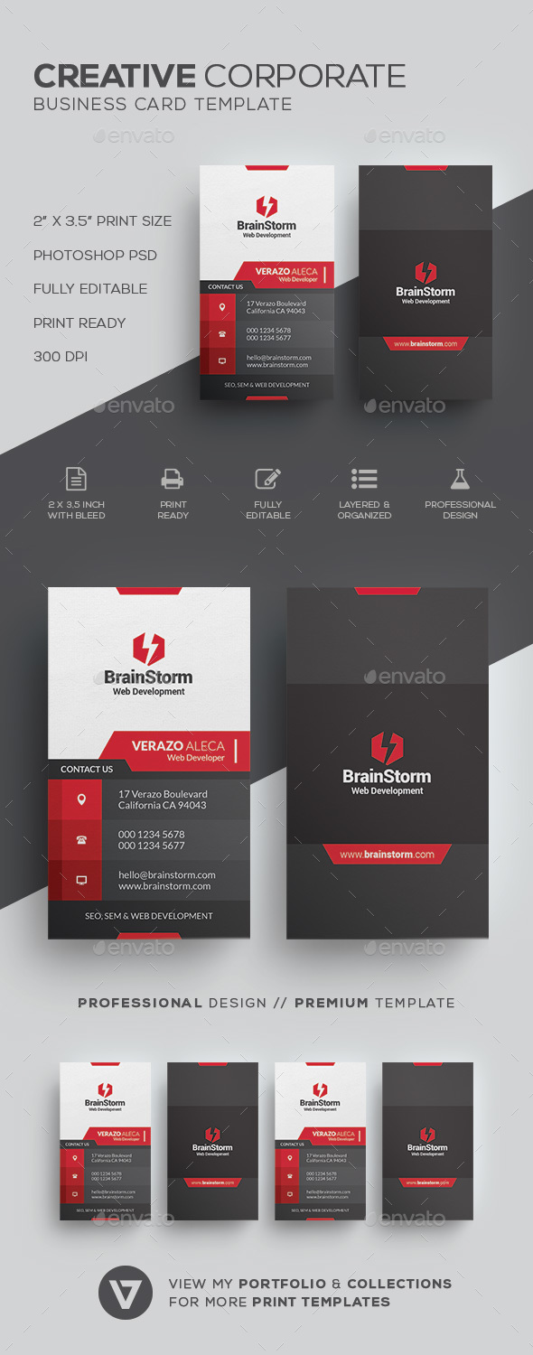 Creative modern business card template by verazo graphicriver creative modern business card template corporate business cards fbccfo Image collections