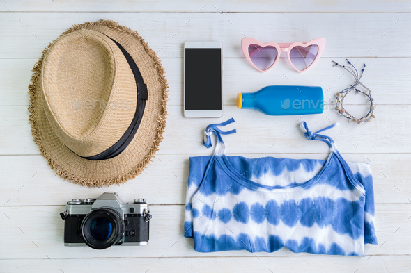 Women's casual clothes with accessories items, Summer concept - Stock Photo - Images