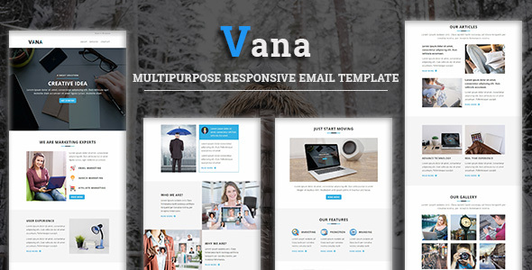 Vana - Multipurpose Responsive Email Template With Stampready Builder Access - Newsletters Email Templates