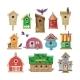Birdhouse Vector Cartoon Birdbox and Birdie Wooden