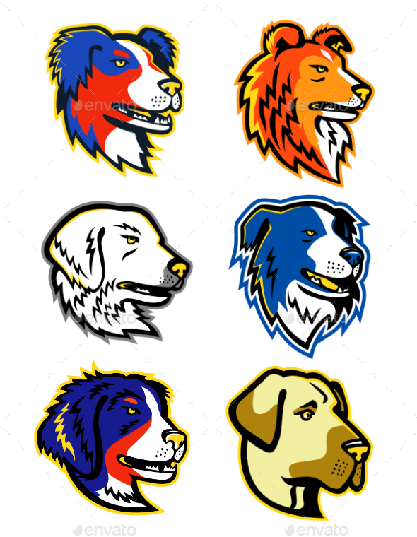 Sheepdogs Head Mascot Collection - Animals Characters