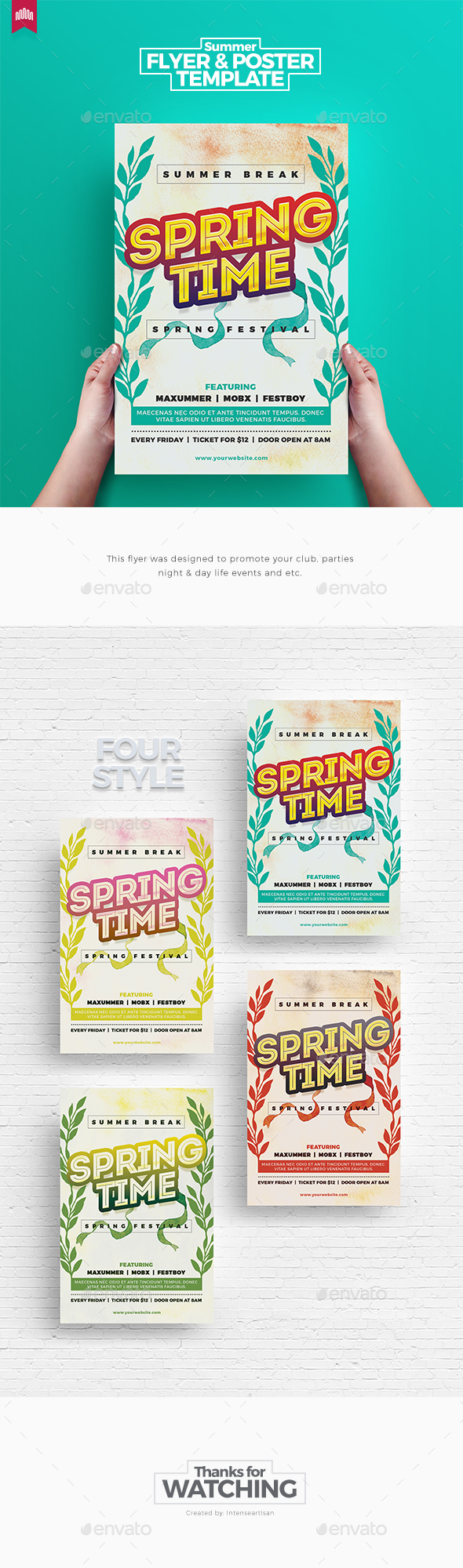 Spring Time - Flyer Template - Clubs & Parties Events