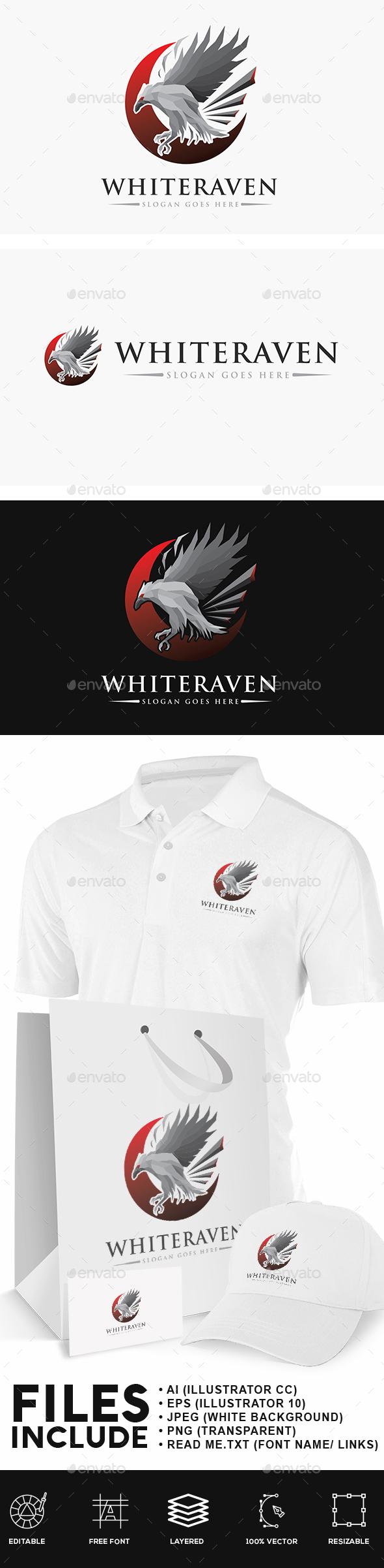 White Raven Logo - Animals Logo Templates