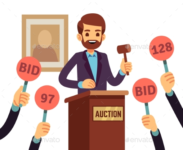 Auction with Man - People Characters