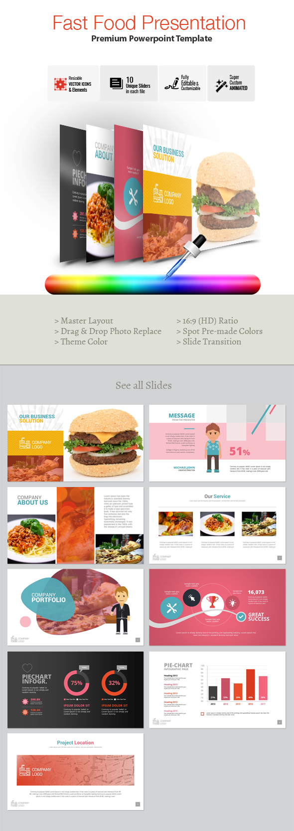 Fast Food Powerpoint Template - Business PowerPoint Templates