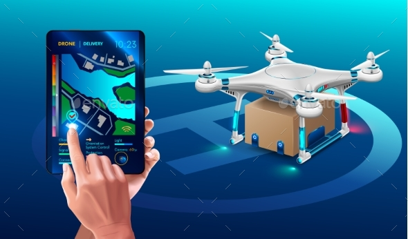 Postal Drone Landed with Carton Box Package - Miscellaneous Vectors