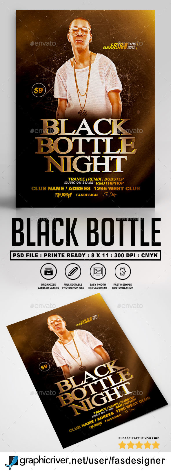Black Bottle Night Flyer A4 - Clubs & Parties Events