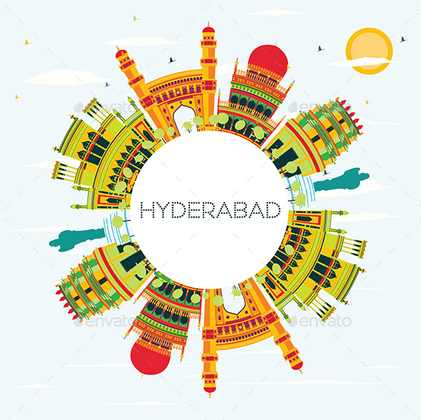 Hyderabad City Skyline with Color Buildings and Copy Space - Buildings Objects