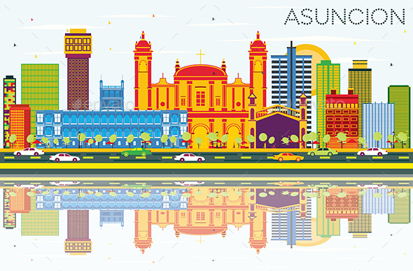 Asuncion Paraguay City Skyline with Color Buildings, Blue Sky and Reflections - Buildings Objects