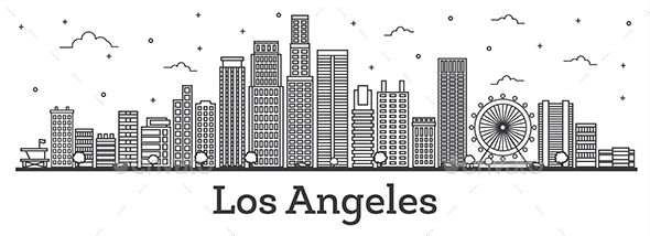 Outline Los Angeles California City Skyline with Modern Buildings Isolated on White - Buildings Objects