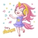 Vector Cartoon Girl Kid Dancing Headphone Horn - GraphicRiver Item for Sale