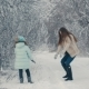 Mom and Daughter Throw Snowballs - VideoHive Item for Sale