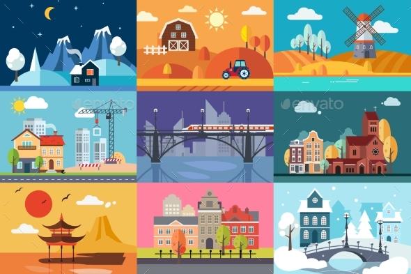 Urban and Rural Landscape in Different Seasons Set - Landscapes Nature