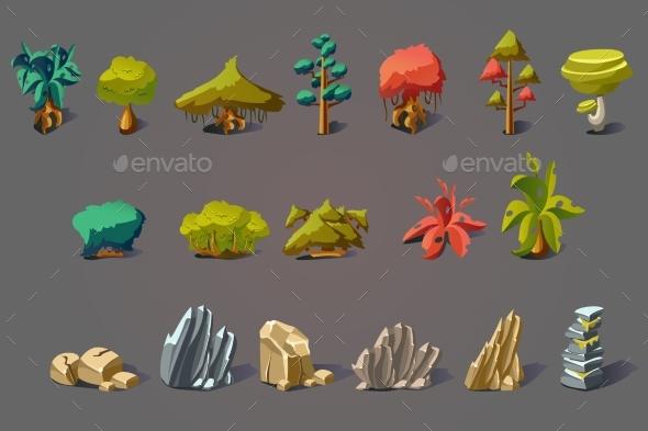Fantasy Landscape Elements Set - Objects Vectors