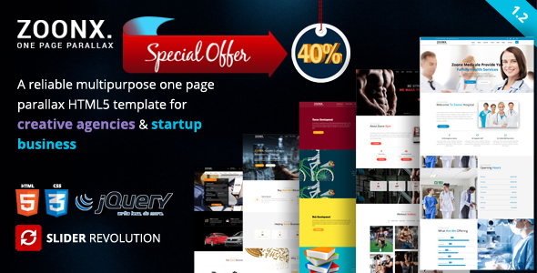 ZOONX – One Page Parallax - Creative Site Templates