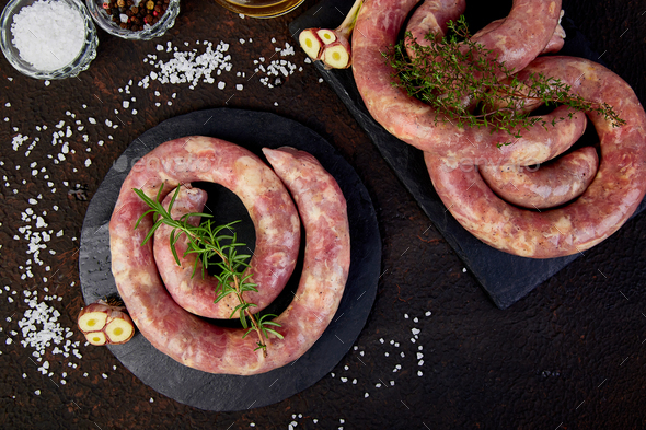 Raw spiral pork sausages - Stock Photo - Images