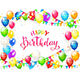 Happy Birthday with Balloons and Multicolored Confetti on White Background - GraphicRiver Item for Sale