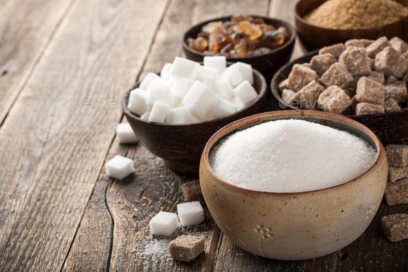 Various sugar in bowls - Stock Photo - Images