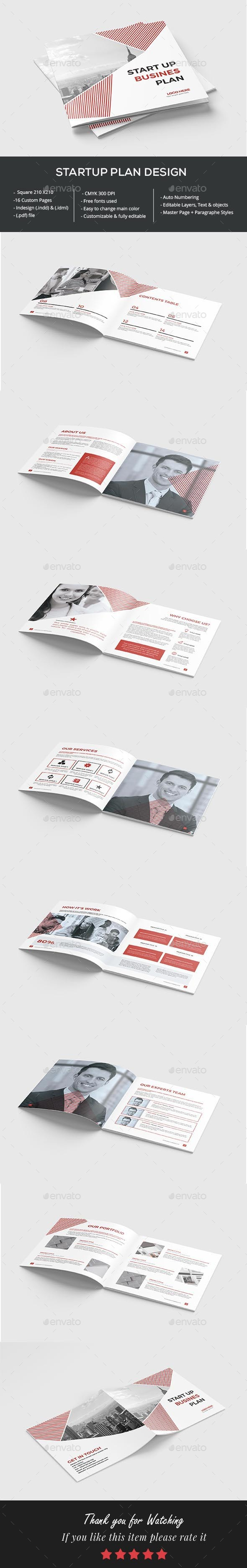 Square Startup Business Plan - Brochures Print Templates