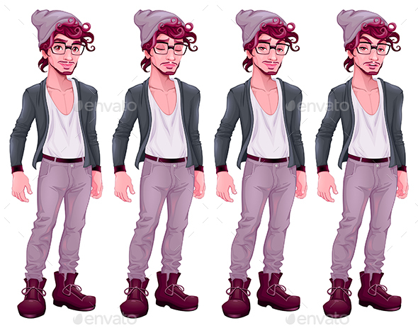 Boy with Different Expressions - People Characters