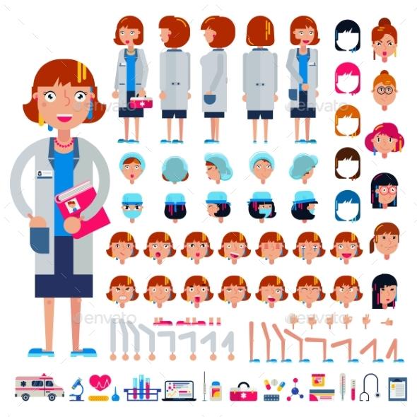 Doctor Constructor Vector Construction of Female - Health/Medicine Conceptual