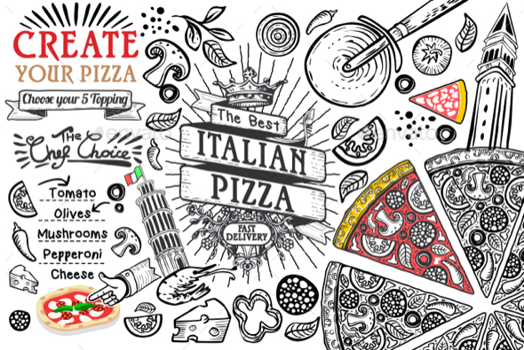 Italian Food Ingredients Pizza Doodle - Food Objects