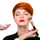 Make-up artist working with brush on model face. Beautiful young - PhotoDune Item for Sale