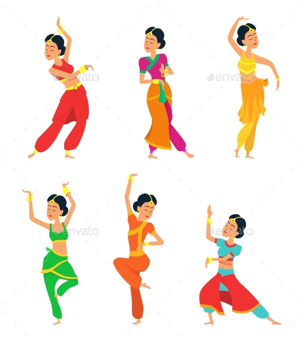 Indian Dancers Isolate on White Background - People Characters