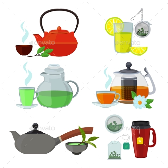 Illustrations of Cups and Kettles for Different - Objects Vectors