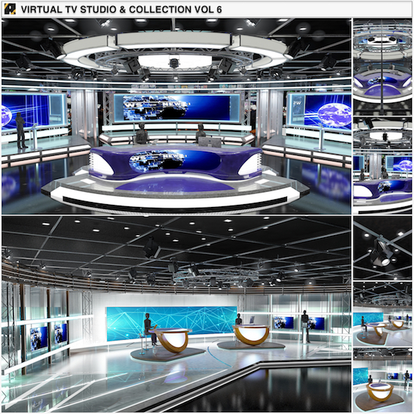 Virtual TV Studio News Sets Collection 6 - 3DOcean Item for Sale