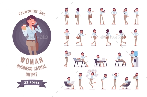 Young Business Casual Woman Ready-to-use Character - Business Conceptual