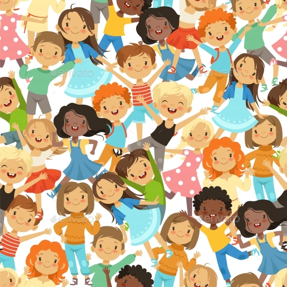 Seamless Pattern with Children - People Characters