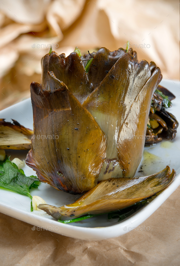 Roast artichokes - Stock Photo - Images