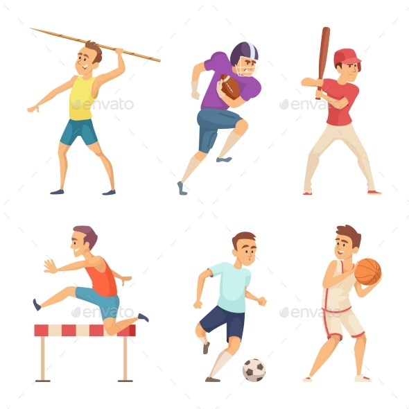 Vector Illustrations of Sport People Playing Games - People Characters