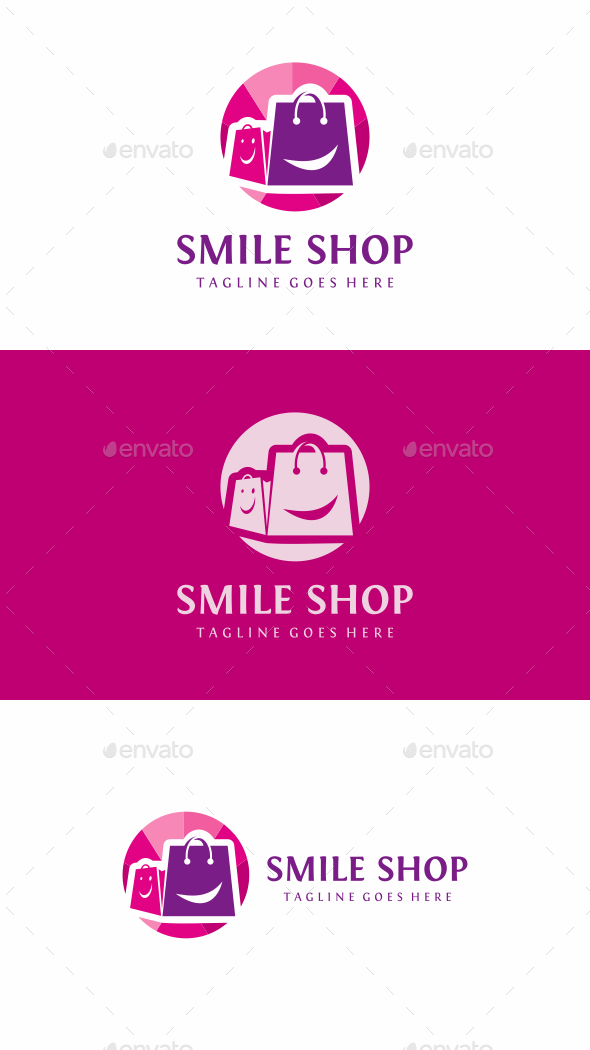 Smile Shop Bag - Objects Logo Templates