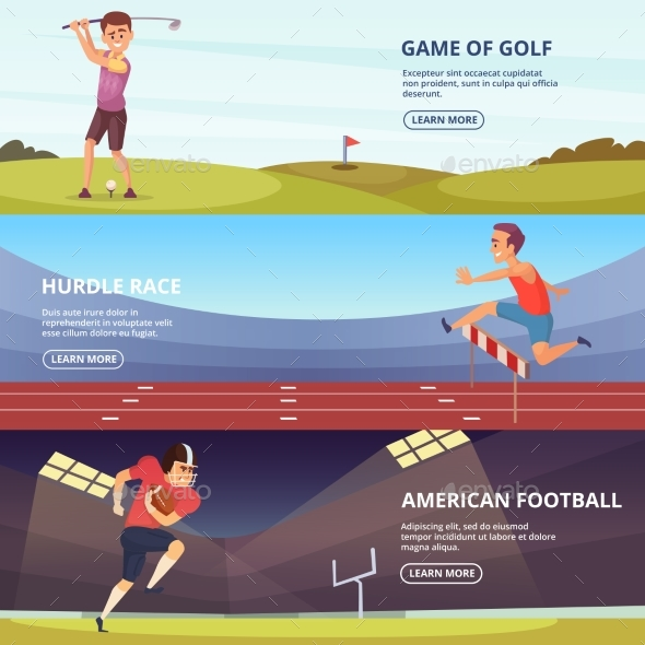Design of Horizontal Banners with Sport Peoples in - People Characters