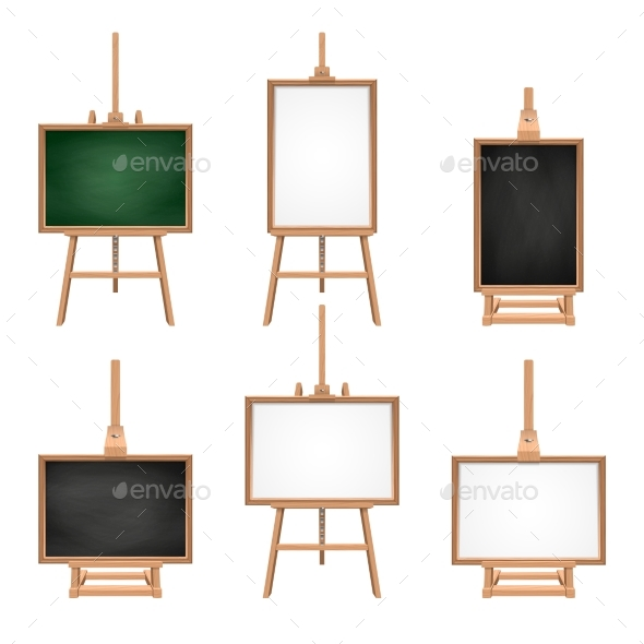 Different Colored Blank Boards Standing on Easels - Objects Vectors