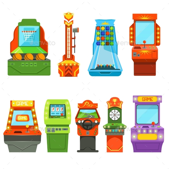 Game Machines. Vector Pictures in Cartoon Style - Objects Vectors