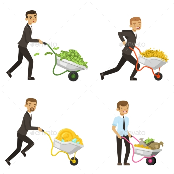 Businessmen Driving a Wheelbarrow with Money - People Characters