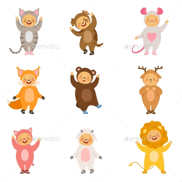 Kids Party Costumes  - Characters Vectors