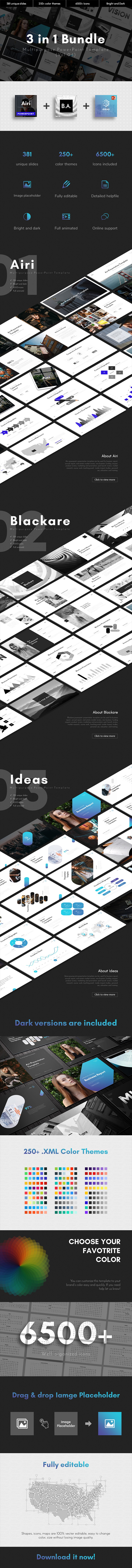 3 in 1 Multipurpose PowerPoint Template Bundle (Vol.04) - Business PowerPoint Templates