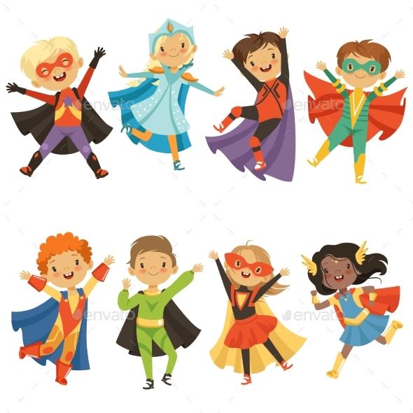 Kids in Superhero Costumes - People Characters