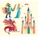 Vector Fantasy Set - Knight, Princess, Dragon