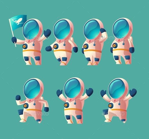 Vector Set of Cartoon Spaceman, Moving Cosmonaut - People Characters