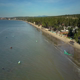 Flying from Ocean with Boats to Palm Beach Hotel - VideoHive Item for Sale