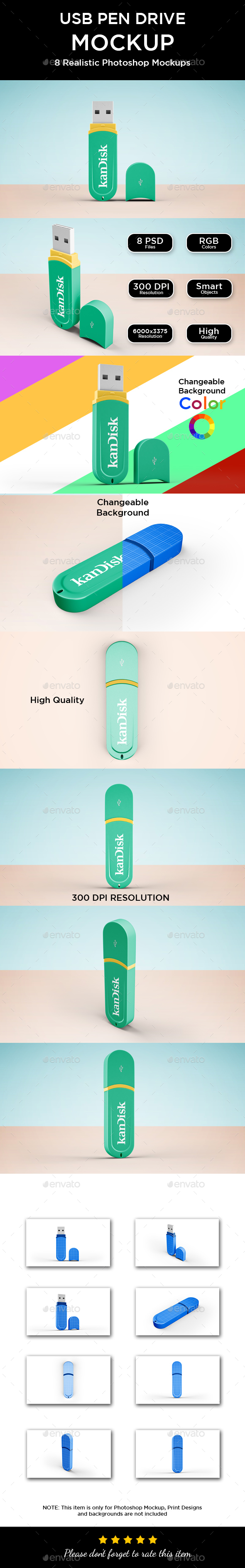 USB Pen Drive Mockup - Product Mock-Ups Graphics