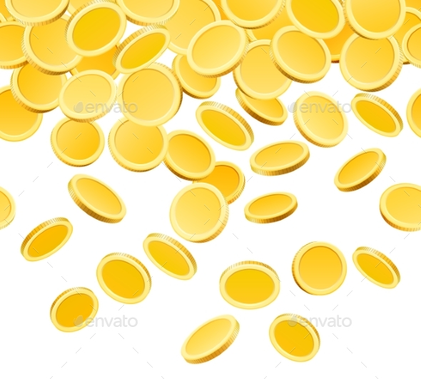Falling Golden Coins Isolated on White - Miscellaneous Vectors