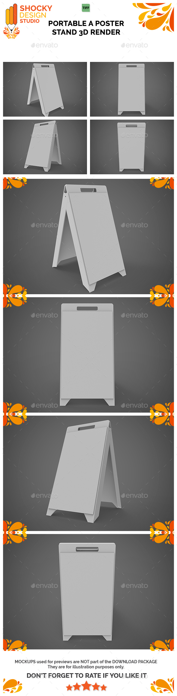 Portable A Poster Stand 3D Render - Miscellaneous 3D Renders