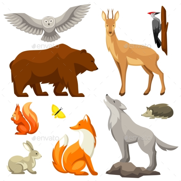Set of Woodland Forest Animals and Birds. - Animals Characters