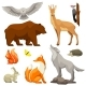 Set of Woodland Forest Animals and Birds. - GraphicRiver Item for Sale